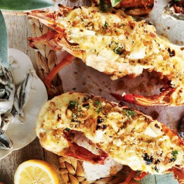 Grilled lobster with parmesan sauce and thyme pangrattato