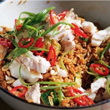 Nasi goreng with flaked snapper